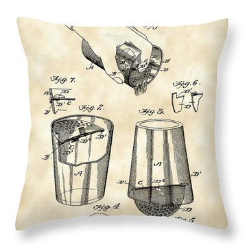 Cocktail Mixer And Strainer Patent 1902 - Vintage Throw Pillow by Stephen Younts