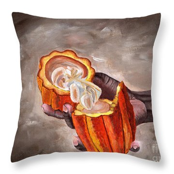 Cocoa Pod In Hand Throw Pillow