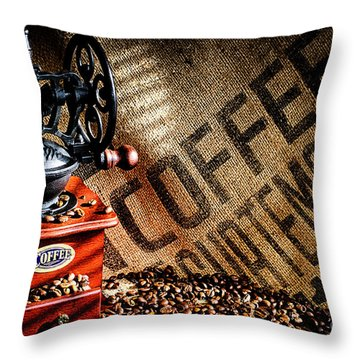 Coffee Beans And Grinder Throw Pillow