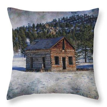 Colorado Log Cabin Throw Pillow