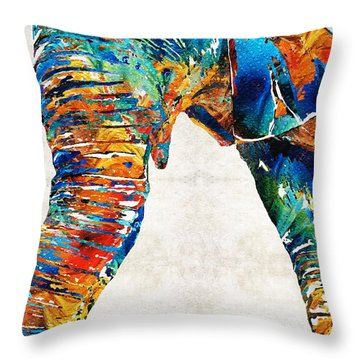 Colorful Elephant Art By Sharon Cummings Throw Pillow