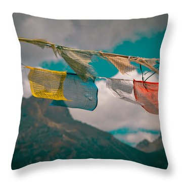 Colourfull Praying Buddhist Flags Lungta Throw Pillow