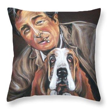 Columbo And Dog Throw Pillow by Martha Suhocke