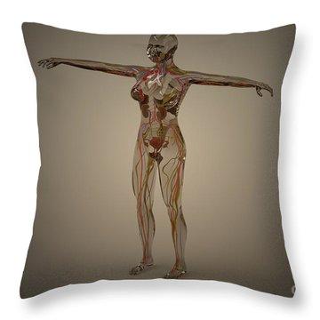 Conceptual Image Of Human Nervous Throw Pillow by Stocktrek Images