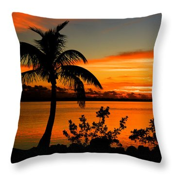 Throw Pillow featuring the photograph Conch Key Bay Sunset by Julis Simo