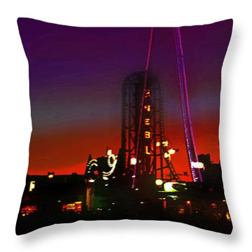 Coney Island Amusement Park And Parachute Jump Throw Pillow