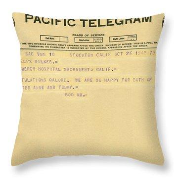 Congratulatory Telegram Throw Pillow by Underwood Archives