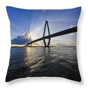 Cooper River Bridge Charleston Sc Throw Pillow by Dustin K Ryan
