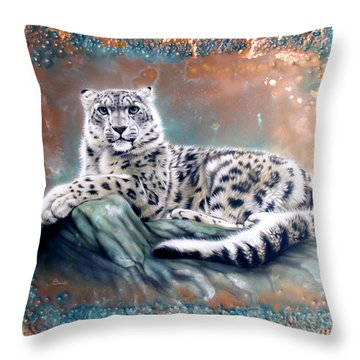 Copper Snow Leopard Throw Pillow