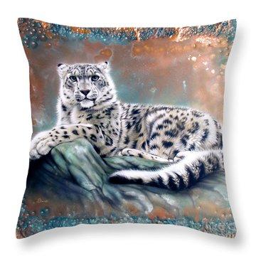 Copper Snow Leopard Throw Pillow