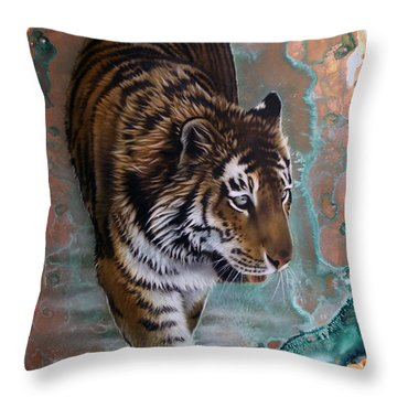Copper Tiger I  Throw Pillow