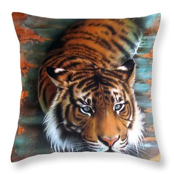 Copper Tiger II Throw Pillow