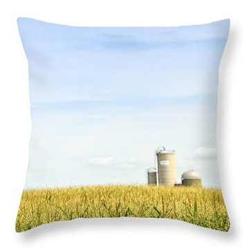 Corn Field With Silos Throw Pillow by Elena Elisseeva