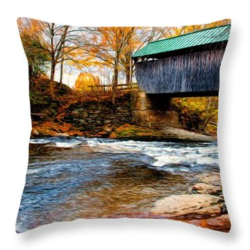 Covered Bridge Throw Pillow by Bill Howard
