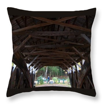 Covered Bridge Throw Pillow by Catherine Gagne