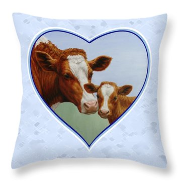 Cow And Calf Blue Heart Throw Pillow