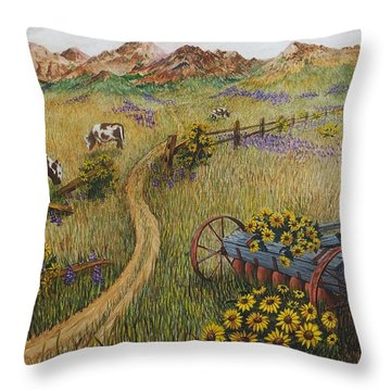 Cows Grazing Throw Pillow by Katherine Young-Beck