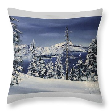 Crater Lake Throw Pillow by D L Gerring