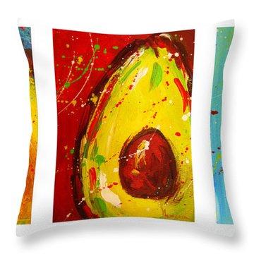 Crazy Avocados Triptych Throw Pillow