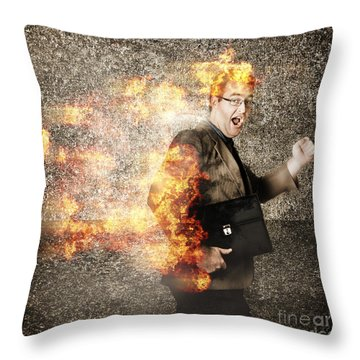Crazy Businessman Running Engulfed In Fire. Late Throw Pillow