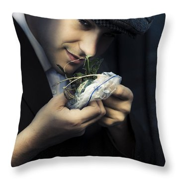 Criminal With Weeds And Green Grass Throw Pillow