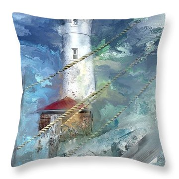Crisp Point Lighthouse Michigan Throw Pillow