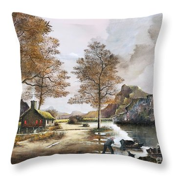 Crofters Cottages Throw Pillow