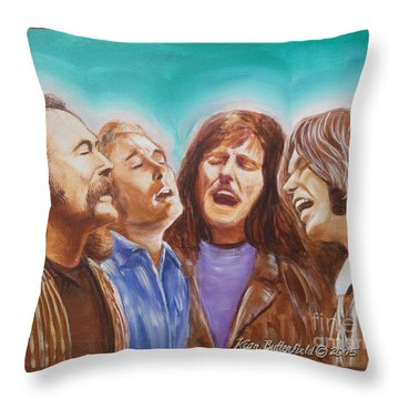 Crosby Stills Nash And Young Throw Pillow by Kean Butterfield