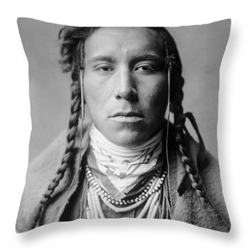 Crow Indian Man Circa 1908 Throw Pillow by Aged Pixel