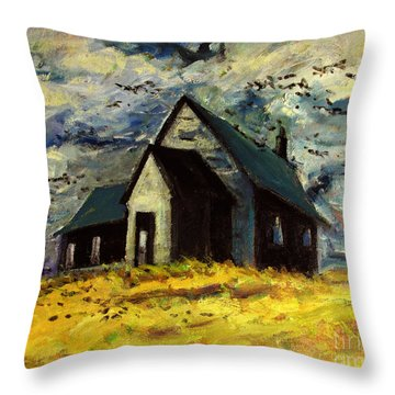 Crows Over A Wheat Field Throw Pillow
