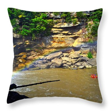 Cumberland Falls Rainbow Throw Pillow by Frozen in Time Fine Art Photography