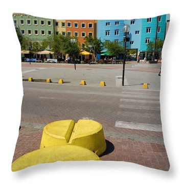 Curacaos Colorful Architecture Throw Pillow by Amy Cicconi
