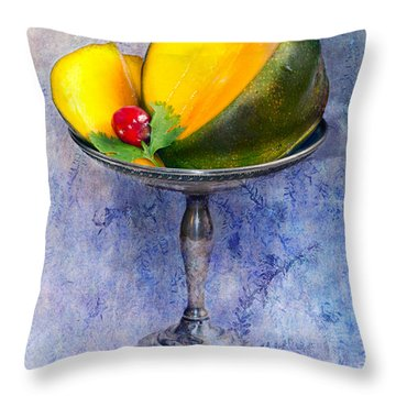 Throw Pillow featuring the photograph Cut Mango On Sterling Silver Dish by Gunter Nezhoda