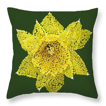 Throw Pillow featuring the digital art Daffodil Bedazzled by R  Allen Swezey