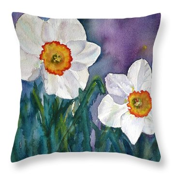 Throw Pillow featuring the painting Daffodil Dream by Anna Ruzsan
