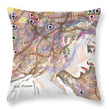 Daisy Chain Throw Pillow by Kim Prowse