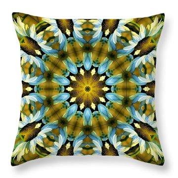 Kaleidoscope Daisy Mae Throw Pillow by Julia Hassett