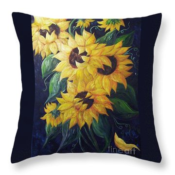 Dancing Sunflowers  Throw Pillow by Eloise Schneider
