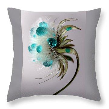 Dandelion Blues Throw Pillow