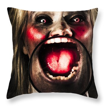 Dark And Scary Horror Face. Evil Laugh Throw Pillow