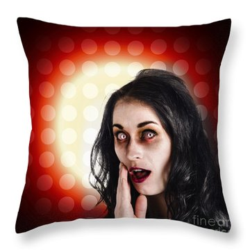 Dark Portrait Of A Zombie Girl In Shock Horror Throw Pillow