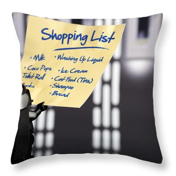 Darth's Shopping List Throw Pillow