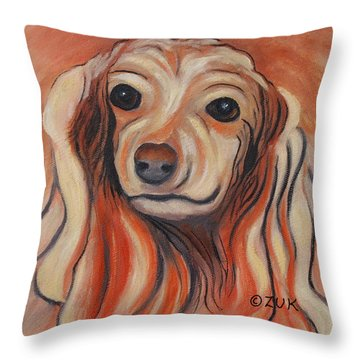 Throw Pillow featuring the painting Daschound by Karen Zuk Rosenblatt
