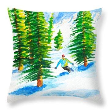 David Skiing The Trees  Throw Pillow