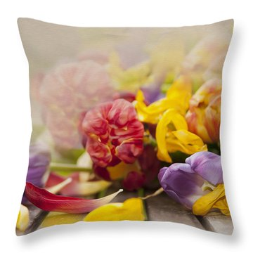 Dead Tulips Throw Pillow by Svetlana Sewell