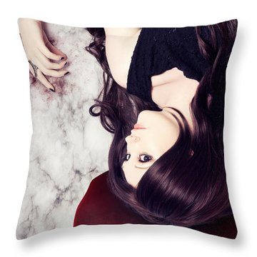 Dead Woman Holding Black Flower In Blood Puddle Throw Pillow