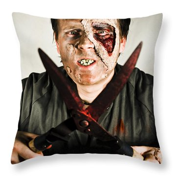 Death By Zombie Throw Pillow