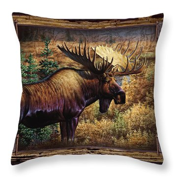 Throw Pillow featuring the painting Deco Moose by Cynthie Fisher