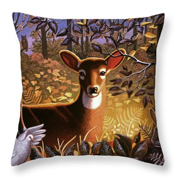 Throw Pillow featuring the painting Deer In The Forest by Robin Moline