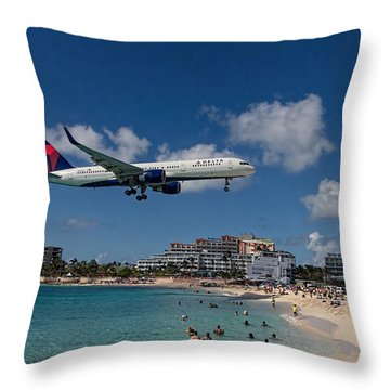 Delta Air Lines Landing At St Maarten Throw Pillow